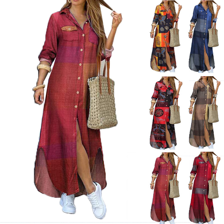 2020 hot sale Amazon ebay new European and American spring and summer fashion sexy shirt long skirt dress women