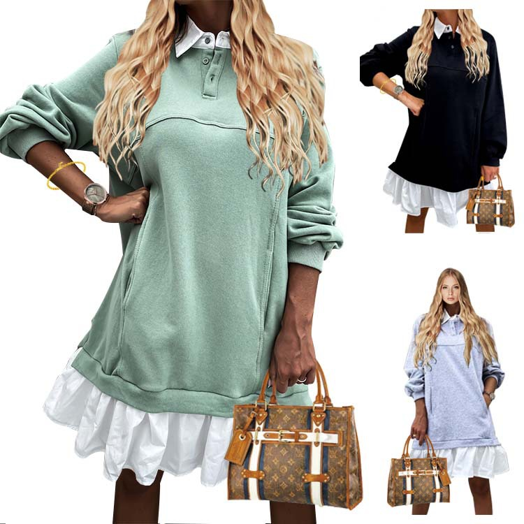 2020 European and American autumn and winter color matching pocket button sweater long sleeve dress
